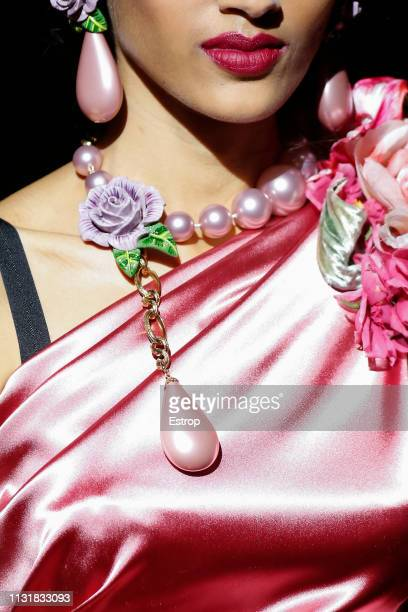 Jewelry detail at the Dolce & Gabbana show at Milan Fashion Week Autumn/Winter 2019/20 on February 20, 2019 in Milan, Italy.