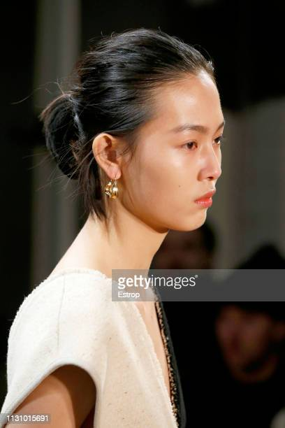 Jewelry detail at the Jil Sander show at Milan Fashion Week Autumn/Winter 2019/20 on February 20 2019 in Milan Italy
