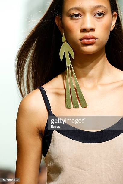 Jewelry detail at the JW Anderson show during London Fashion Week Spring/Summer collections 2017 on September 17 2016 in London United Kingdom