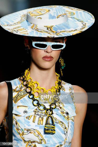 Jewelry detail at the Moschino show during Milan Fashion Week Spring/Summer 2019 on September 20 2018 in Milan Italy