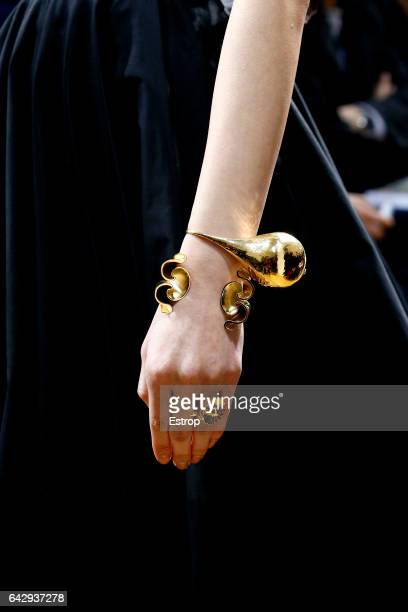 Jewelry detail at the runway during J.W.Anderson show at the London Fashion Week February 2017 collections on February 18, 2017 in London, England.