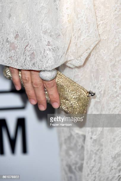 A jewelry detail of actor Mia Maestro attends the amfAR Gala at Ron Burkle's Green Acres Estate on October 13 2017 in Beverly Hills California