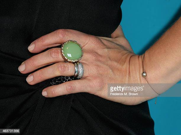 Jewelry details of actress Jacqueline Mazarella during the 17th Costume Designers Guild Awards with presenting sponsor Lacoste at The Beverly Hilton...