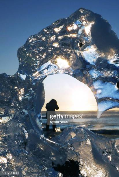 'Jewelry ice' reflects the sunlight on a beach near the mouth of the Tokachi River in Toyokoro Hokkaido on Jan 29 2018 The ice which came from the...