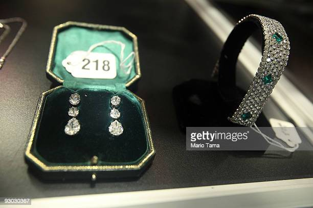Jewelry is displayed during a press preview of a US Marshals Service auction of personal property seized from Bernard and Ruth Madoff November 13...