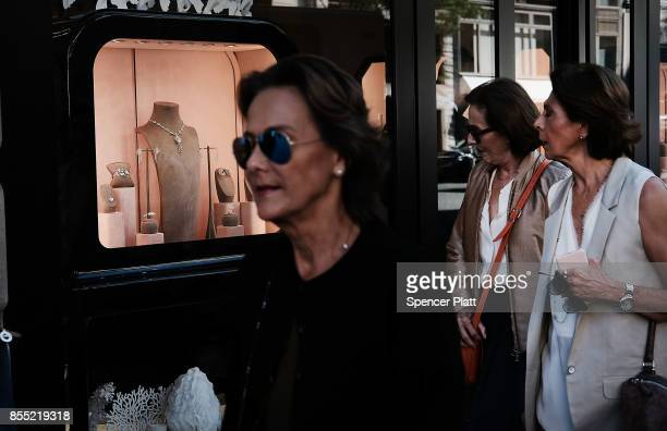 Jewelry is displayed in a window along Madison Avenue, one of the most expensive shopping districts in America on September 28, 2017 in New York...