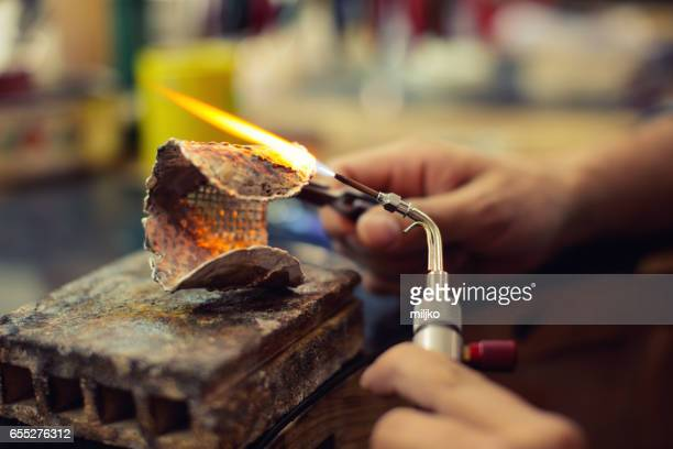 jewelry manufacture - bunsen burner stock pictures, royalty-free photos & images