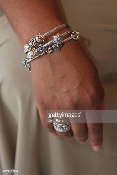 Jewelry on display at the PANDORA Jewelry Cabana during MercedesBenz Fashion Week Swim 2015 at The Raleigh on July 19 2014 in Miami Beach Florida