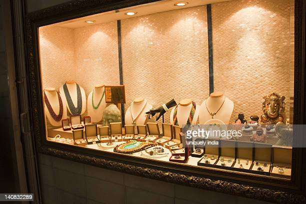 Jewelry on display in a jewelry store, New Delhi, India