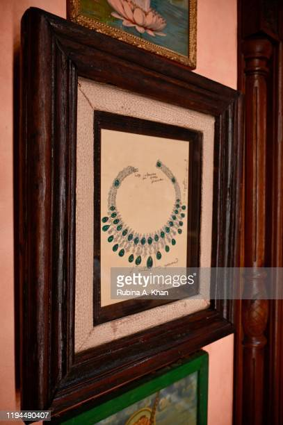 Jewelry sketches by Indian couturier and jewelry designer Sabyasachi framed on the walls as conversational art at Sabyasachi Jewelry his first...