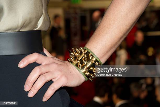 Jewelry worn by French actress Zoe Felix as she attends the 37th Cesar Film Awards at Theatre du Chatelet on February 24 2012 in Paris France