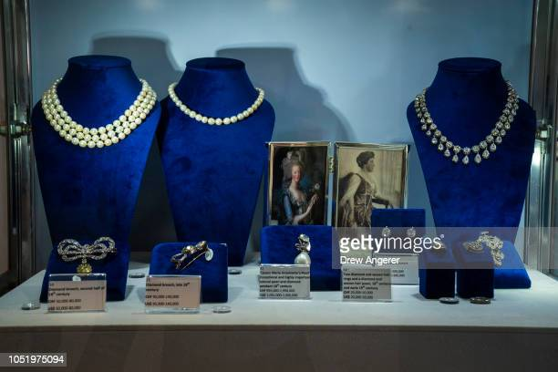 Jewelry worn by French Queen Marie Antoinette is displayed at Sotheby's auction house October 12 2018 in New York City The collection of aristocratic...