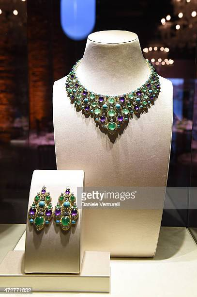 Jewels are displayed during the Venetian Heritage And Bulgari Gala Dinner at Cipriani Hotel on May 9 2015 in Venice Italy