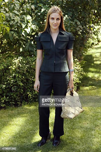 Jewels designer Gaia Repossi poses prior to attend Christian Dior 2015-2016 fall/winter Haute Couture collection fashion show on July 6, 2015 in...