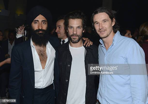 Jewerly designer Waris Ahluwalia artist Aaron Young and curator Neville Wakefield attends a private dinner celebrating Remo Ruffini and Moncler's...