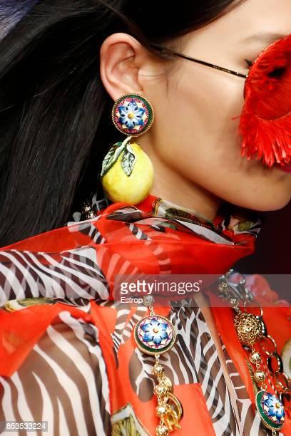 Jewerly Detail at the Dolce Gabbana show during Milan Fashion Week Spring/Summer 2018 on September 24 2017 in Milan Italy