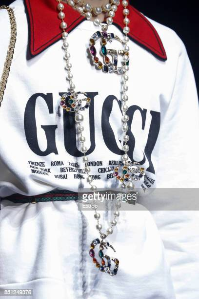 Jewerly Detail at the Gucci show during Milan Fashion Week Spring/Summer 2018 on September 20 2017 in Milan Italy