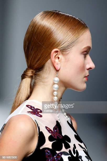 Jewerly detail during the Isabel Sanchis show as part of the Barcelona Bridal Week 2018 on April 25, 2018 in Barcelona, Spain.