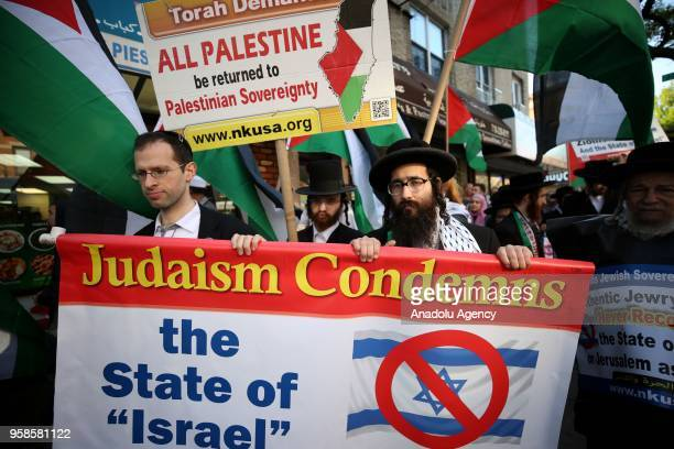 Jewish activists opposing the State of Israel stage a rally condemning the Israeli violence at the Gaza Strips eastern border on May 14 2018 in...