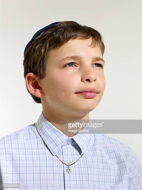 Jewish boy wearing a kippah