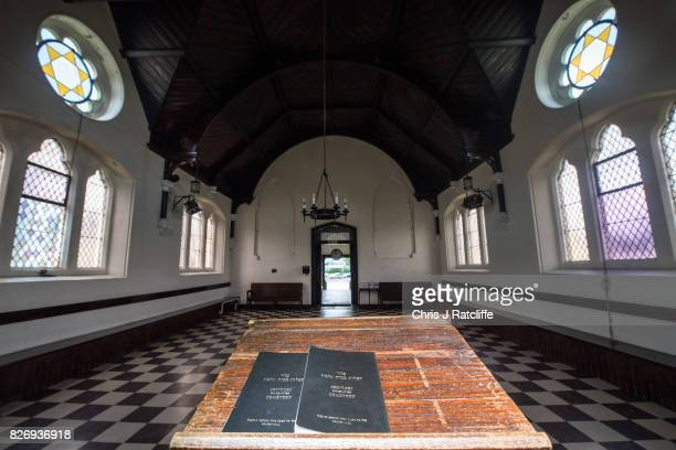 Jewish cemetery service book is seen on a podium inside the prayer hall of the funerary buildings at Willesden Jewish Cemetery also known as the...