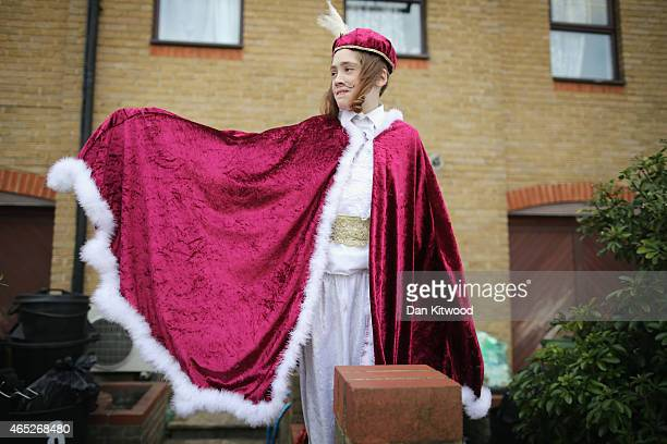 Jewish children in fancy dress celebrate the Jewish holiday of Purim on March 5 2015 in London England The annual Purim holiday is celebrated by...