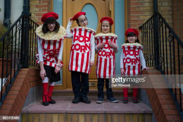 Jewish children in fancy dress during the annual Jewish holiday of Purim on March 12 2017 in London England Purim is celebrated by Jewish communities...