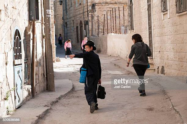 jewish children in safed, israel - safed stock photos and pictures