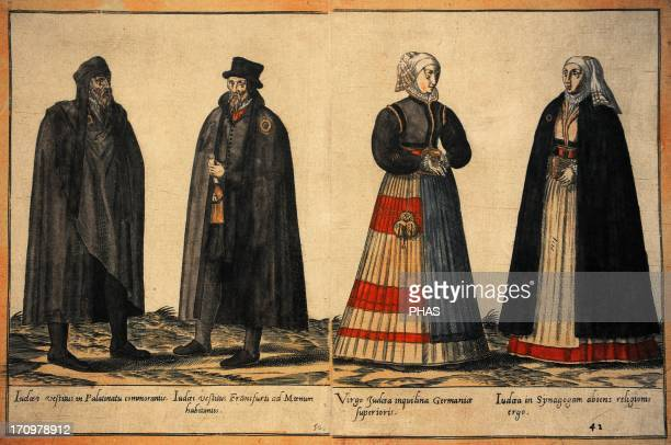 Jewish community 18th century Jews in traditional dress Three of them are marked by a yellow ring to know they were Jews Engraving