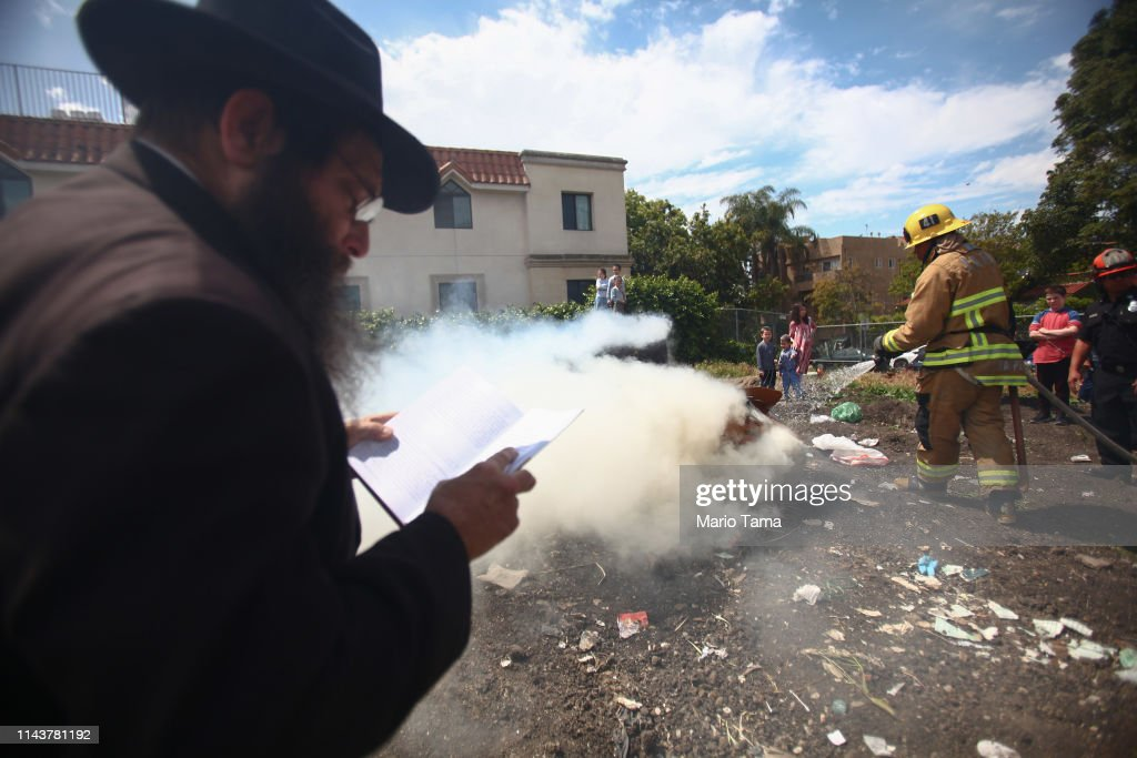 CA: Jewish Community Members Burn Leavened Items In Preparation For Passover In L.A.