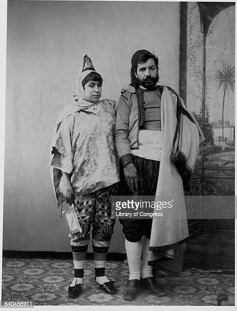 Jewish couple of Tunis, wearing the traditional dress of North African Arab Jews.