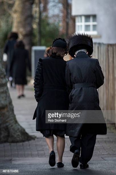 Jewish couple walk down the street in the Stamford Hill area on January 17 2015 in London England Police have announced they will increase patrols in...