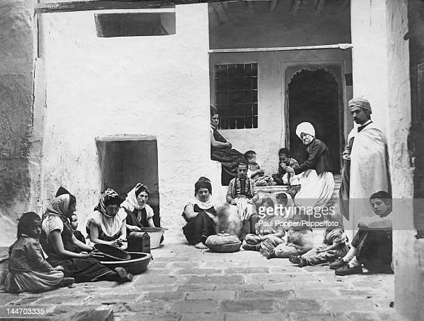 A Jewish family in the courtyard of their home in Biskra Algeria circa 1920