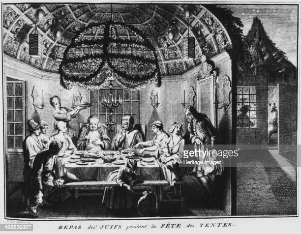Jewish festival of Sukkot, early 18th century. Engraving titled 'Repas des Juifs pendant la Fete des Tentes' . Sukkot is the plural of succah,...
