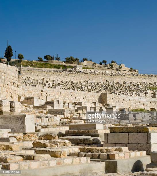 jewish graveyard on the mount of olives - mount of olives stock pictures, royalty-free photos & images