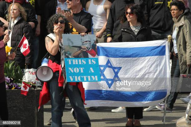Jewish groups protest against Palestine and Muslims in downtown Toronto Ontario Canada on May 13 2017 Members of the Jewish Defence League and the...