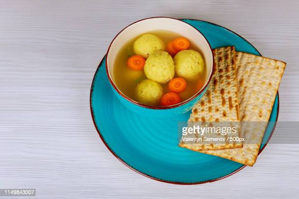 Jewish Holiday Kosher Food Served On Passover Matzah Ball Soup In A Pot