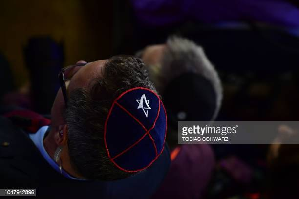 TOPSHOT A jewish kippa skullcap with a star of David is pictured during an ordination ceremony at the Bet Zion synagogue in Berlin on October 8 2018