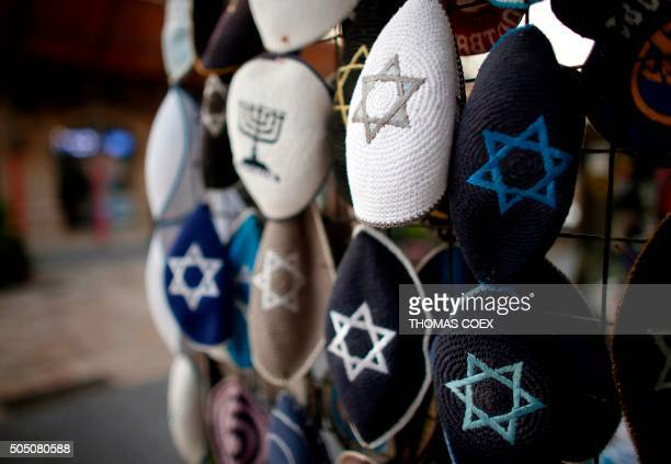 Jewish Kippas are seen on display at a store in downtown west Jerusalem on January 15 2016 Israeli Prime Minister Benjamin Netanyahu on January 14...
