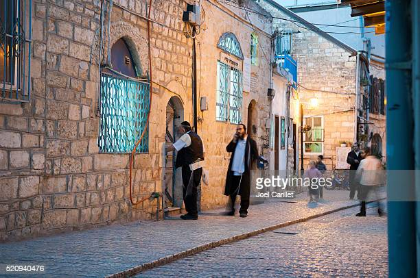 jewish life in safed, israel - safed stock photos and pictures