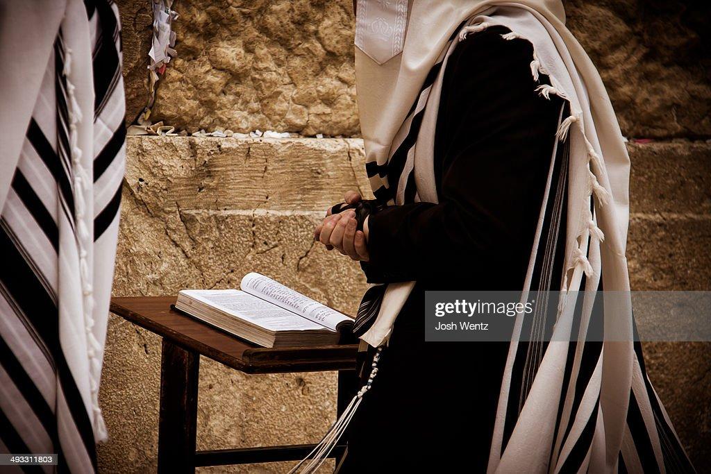 Jewish Man Praying at the Wailing Wall : Stock Photo