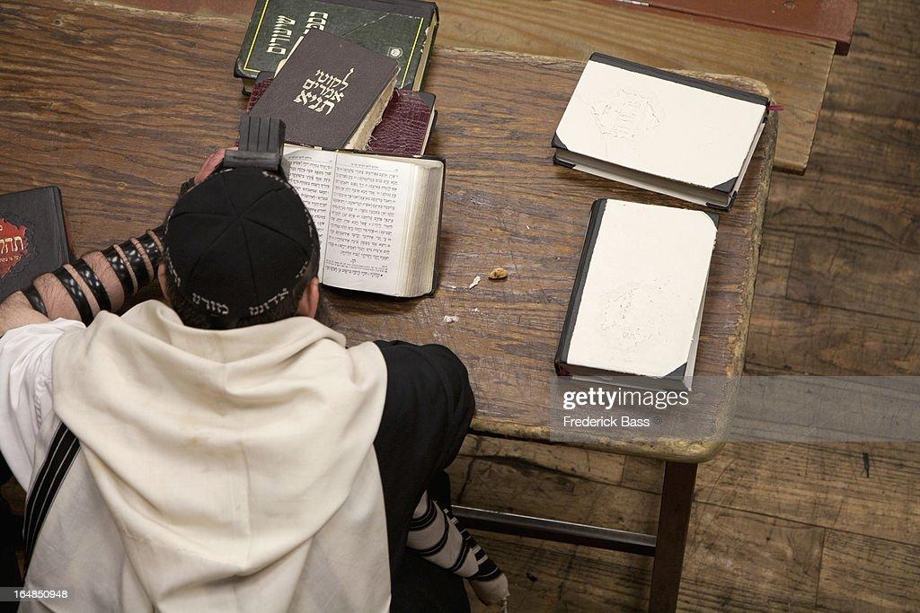 Jewish man with tefillin reading religious prayer book : Stock Photo