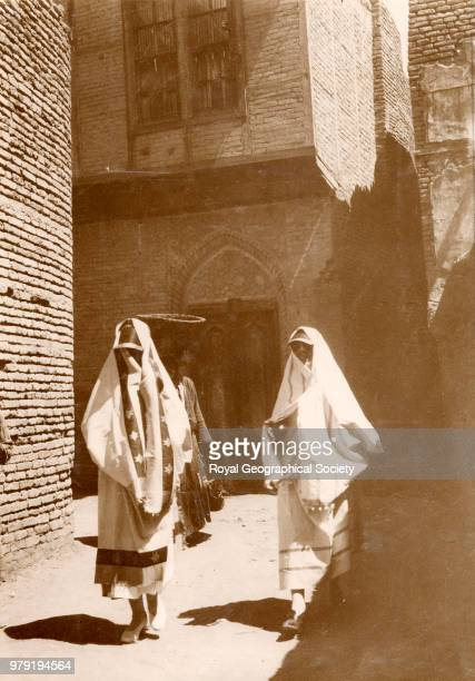 Jewish married women wearing izars and blinkers in Baghdad Iraq 1925