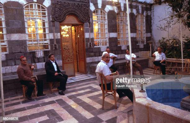 Jewish men in the courtyard in alFirenj Synagogue in downtown Damascus Syria 14th April 1994 Syrian Jews suffered repression for many years and the...
