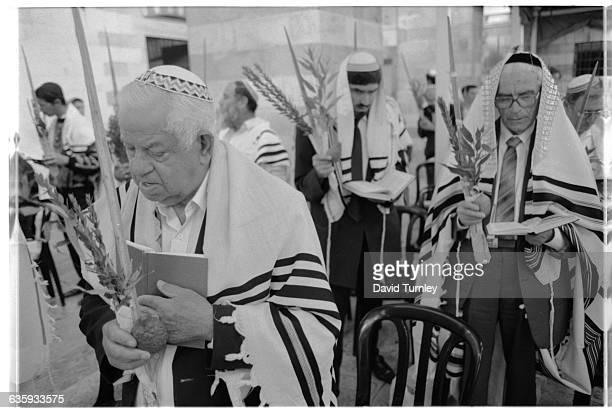 Jewish men pray during Sukkoth in Hebron
