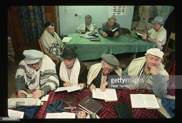 Jewish men read texts at the first working synagogue in Lviv Ukraine in 40 years Before World War II there were 58 synagogues in Lviv