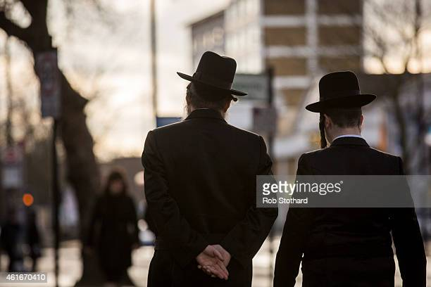 Jewish men walk along the street in the Stamford Hill area on January 17 2015 in London England Police have announced they will increase patrols in...