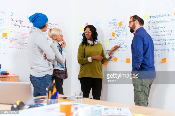 jewish moderator with international group of seminar participants, explaining near flip charts - israeli ethnicity stock pictures, royalty-free photos & images