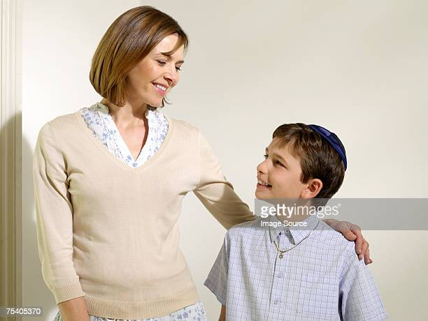 Jewish mother and son