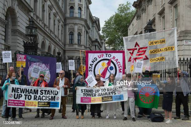 Jewish, Muslim and Roma groups attend a protest called by Stand Up To Racism against Hungarian Prime Minister Viktor Orban at Downing Street on May...